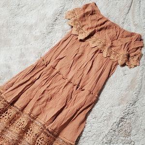 Boho Lace Crochet Dusty Coral Straples Maxi Dress